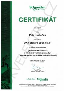 DKV Schneider-electric certifikát Petr Kudláček 2019-2021